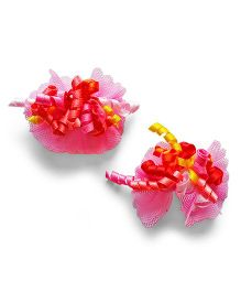 Milonee Bow Clips With Curly Ribbons - Pink
