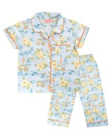 CrayonFlakes Hawain Night Suit - Light Blue