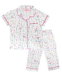 CrayonFlakes Garden Night Suit - White & Multicolour