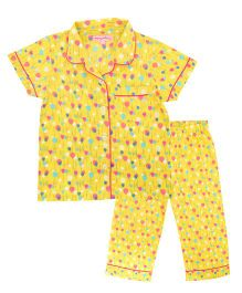 CrayonFlakes Balloon Night Suit - Yellow
