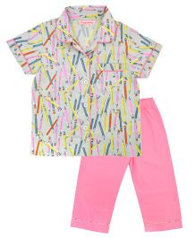 CrayonFlakes Pencil Night Suit - Multicolour & Pink