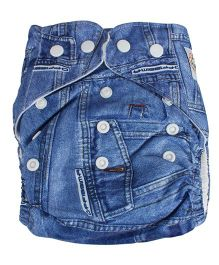 EZ Life One Size Fits All Denim Reusable Cloth Diaper With 1 Insert - Blue