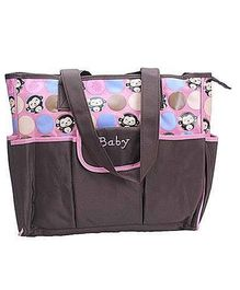 EZ Life Baby Diaper Carry Bag Happy Monkey ( Large) - Pink
