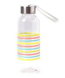EZ Life Rainbow Stripes Water Bottle with Holder Strap - Transparent