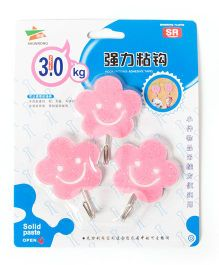 EZ Life 3 Piece Wall Hook Set Smiling Flower - Pink