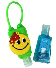EZ Life Smiley Silicon Sanitizer Holder With 2 Sanitizers - Green