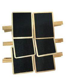 EZ Life Wooden Finish Chalkboard Clips Set of 6 - Black