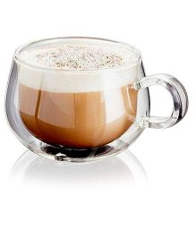EZ Life Double Wall Round Cappuccino Mugs - Transparent