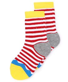 Cute Walk By Babyhug Socks Stripes Design - Yellow Red