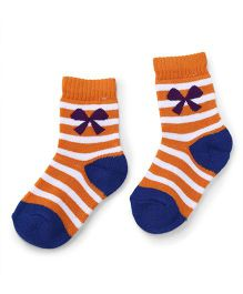 Cute Walk by Babyhug Anti Bacterial Socks Bow Design - Orange Blue