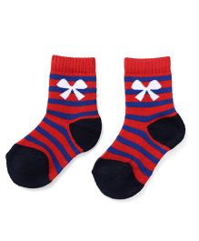 Cute Walk by Babyhug Anti Bacterial Socks Bow Design - Red Blue