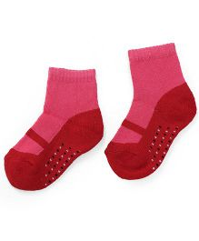 Cute Walk by Babyhug Anti Bacterial Socks Shoes Design - Red Pink