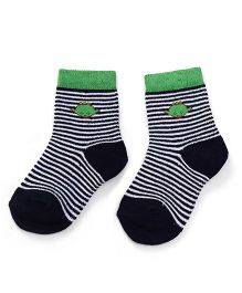 Cute Walk by Babyhug Anti Bacterial Socks Shoe Alien Design - Green Blue