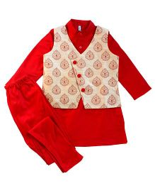 Campana Kurta Pyjama Jacket Set - Red