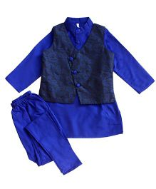 Campana Kurta Pyjama Jacket Set - Royal Blue