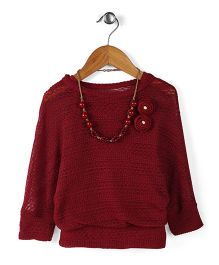 Little Kangaroos Party Top With Necklace - Maroon