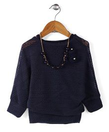 Little Kangaroos Party Top With Necklace - Navy
