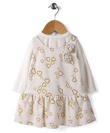 Little Kangaroos Frock With Inner Tee Heart Print - Off White