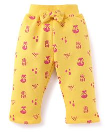 Little Kangaroos Full Length Leggings Kitty Print - Yellow And Pink