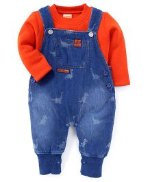 Little Kangaroos Dungaree Style Romper With Inner T-Shirt Dinosaur Print - Blue And Orange