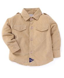 Play by Little Kangaroos Full Sleeves Solid Shirt - Beige