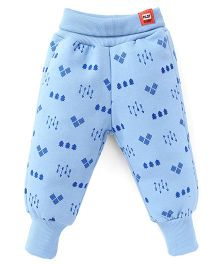 Little Kangaroos Full Length Printed Thermal Bottoms - Sky Blue