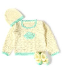 A.T.U.N Stylish Sweater Cap & Booties Set - Mint Green