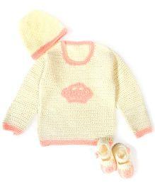 A.T.U.N Stylish Sweater Cap & Booties Set - Peach