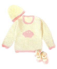 A.T.U.N Stylish Sweater Cap & Booties Set - Pink
