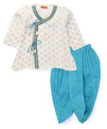 Exclusive from Jaipur Full Sleeves Kurta Dhoti Set - White & Blue