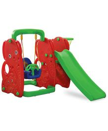 Gro Kids Elephant Slide With Swing - Red Green