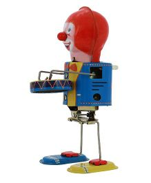 Welby Clown Drummer Wind Up Toy - Blue