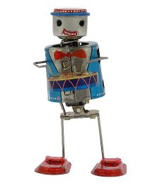 Welby Robot Drummer Wind Up Toy - Blue