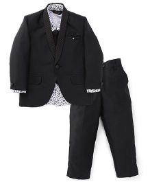Robo Fry 4 Pieces Party Wear Suit Set With Tie - Black