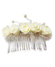 Reyas Accessories Rose Comb Pin - White