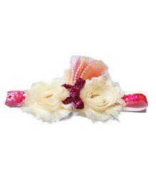 Reyas Accessories Vintage Style Headband - White & Pink