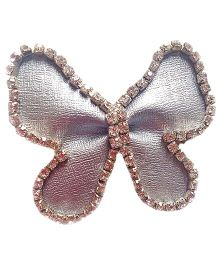 Reyas Accessories Leather Stoned Butterfly Clip - Silver