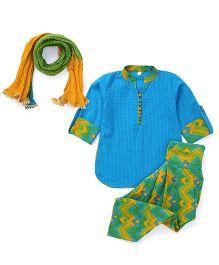Exclusive from Jaipur Full Sleeves Kurti Salwar Dupatta Set - Blue Green Yellow
