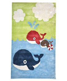 Myrugs Little Whales Handmade Carpet - Blue