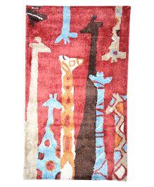 Myrugs Giraffe Zoo Handmade Carpet - Red