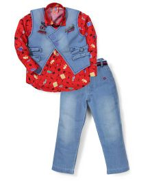 Kreesh Full Sleeves Shirt Jacket And Jeans Set - Blue & Red