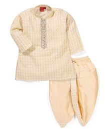 Ethnik's Neu Ron Full Sleeves Kurta & Dhoti Set - Cream