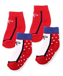 Cute Walk by Babyhug Anti Bacterial Socks Pack of 2 - Red