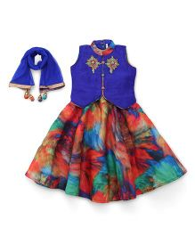 Babyhug Sleeveless Choli And Lehenga - Royal Blue Multicolour