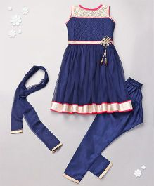 Babyhug Sleeveless Kurta Churidar And Dupatta Set - Navy Blue