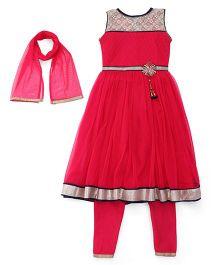 Babyhug Sleeveless Kurta Churidar And Dupatta Set - Pink