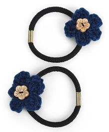 Buttercup From KnittingNani Hair Ties With Wooden Floral Button - Dark Blue