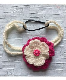 Buttercup From KnittingNani Headband With Bloom - Magenta & Off White