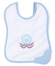 Morisons Baby Dreams Bib With Teether Octopus Embroidery - White Blue
