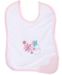 Morisons Baby Dreams Bib With Teether Floral Embroidery - White Pink